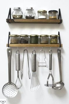 Simple Spice Shelves with Hooks