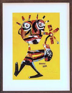 Richard Denny Favourite Tonic (Walking the tight rope with sunflowers)- Vintage maps, acrylic on paper 65 x 83 cm (framed) 42 x 50 cm (unframed) Australian Art, Vintage Maps, International Artist, Gold Coast, Contemporary Artists, Lovers Art, Art Gallery, Sculpture, Fine Art
