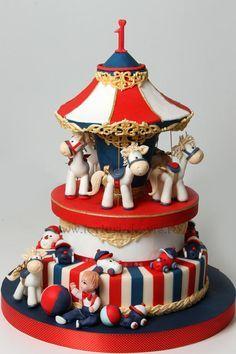 Tartas de cumpleaños - Birthday Cake - Carousel for Ayan Gorgeous Cakes, Amazing Cakes, Fondant Cakes, Cupcake Cakes, Circus Cakes, Carnival Cakes, Carousel Cake, Baby Girl Cakes, Novelty Cakes