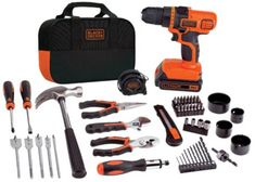 Useful cordless drill and home tools kit! The BLACK+DECKER MAX Cordless Drill and Battery Power Project Kit is a great power tool set for a variety of home. Power Tool Set, Power Hand Tools, Cordless Drill Reviews, Cordless Tools, Drill Set, Wooden Sheds, Home Tools, Diy Tools, Garage Workshop