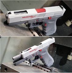 I want one bad, but not a glock. A gun shop in Texas, has turned a Glock into an near perfect replica of the classic Nintendo Zapper, and some folks aren't happy. Weapons Guns, Guns And Ammo, Zombie Weapons, Airsoft Guns, Armas Airsoft, Armas Ninja, Survival, Custom Guns, Custom Glock 19