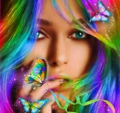 Rainbow Fantasy Girl and Butterfly Image - ID: 10351 - Image Abyss Fantasy Girl, Chica Fantasy, Princesas Disney Zombie, Beau Gif, Gifs, Animation, Anime Eyes, Butterfly Art, Madame Butterfly