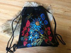 Drawstring Backpack, Handpainted Backpack, Black String Sack Pack, Ethno Backpack, Leather Floral Backpack, Drawstring Backpacks, Hand made, hand painted, diy