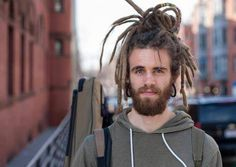 Medium dreadlocks, man with dreads, dread updo, street fashion, natural