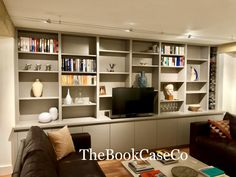 Wall to wall storage housing TV on lift mechanism in Kew Living Room Cupboards, Built In Shelves Living Room, Living Room Wall Units, Living Room Storage, Living Room Designs, Wall Storage, Wall Shelving, Shelving Design, Media Storage