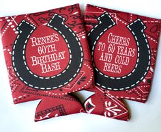 Western Birthday or Bachelorette Party koozies. western wedding favors. bandana western koozies. austin or Nashville party favors.