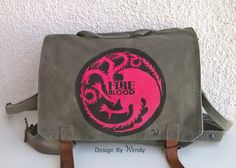 Targaryen Bag Hand Painted, Game of Thrones Backpack, Fire and Blood School Bag, Only 1 Available, Mother of Dragos, READY TO SHIP