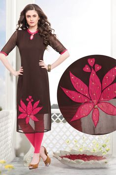 Brown & Pink georgette Straight Cut Kurti-WKR226 - Tunics & Kurtis