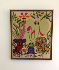Vintage 1960's Jungle Animals Needlepoint Kitsch Fantastic