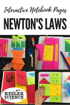 Force and Motion bundle includes 3 foldable worksheets for Newton's Laws, practice problems, and a card sort manipulative game. Turn science notebooks into a fun interactive activity, and hands-on learning experience for your upper elementary or middle sc Science Worksheets, Science Lessons, Teaching Science, Science Experiments, Science Education, Physical Education, 8th Grade Science, Middle School Science, Science Notebooks