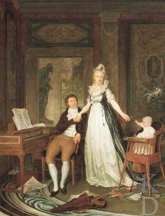 This lady stands prominent amongst her husband, child and accomplishments (piano). Painter Nicolaes Muys Portret van de familie van Erdwin Adrianus de Jongh (1777-1833) en Theodora Jordens (1778-1807),  Date 1801 Rotterdam, Het Schielandshuis,