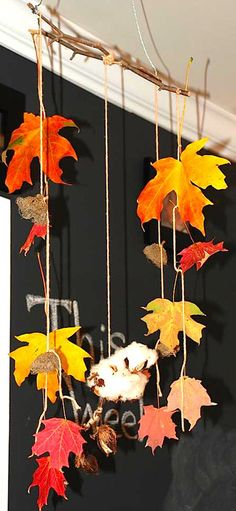 a neat idea for an autumn mobile!    Collecting Leaves with Twigs