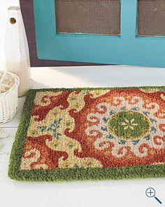 Pretty Front Door Mat Front Hallway, Front Entry, Front Door Mats, Linen  Curtains