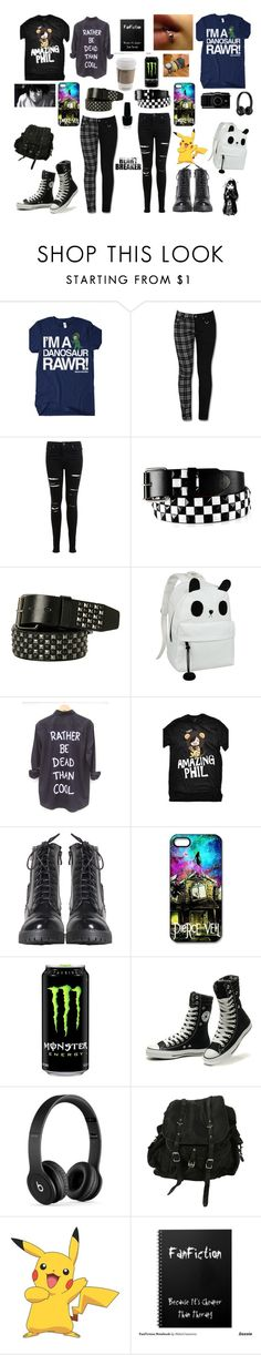 """""""Danisnotonfire and amazingPhil ... Emo ?"""" by lauren-pearson444 ❤ liked on Polyvore featuring Miss Selfridge, H.I.P., OPI, Converse, Beats by Dr. Dre, AllSaints and York Wallcoverings"""