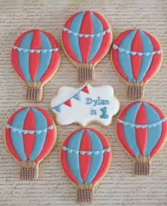 Hot air balloon cookies by Miss Biscuit Baby 1st Birthday, First Birthday Parties, First Birthdays, Hot Air Balloon Centerpieces, Balloon Decorations, Baby Shower Balloons, Birthday Balloons, Balloon Party, Tea Cakes
