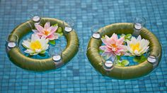 Beautiful pool decor for an outdoor celebration