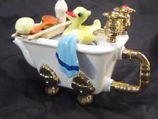 Vintage Swineside Teapottery England Duck Bathtub Teapot *