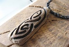 Celtic Leaves and Loops Natural Driftwood Pyrography Pendant