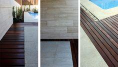 Detalle del encuentro de pavimentos y piscina en jardín diseñado por La Habitación Verde
