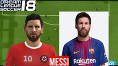 Face Comparison Dream League Soccer 18: Realistic player Faces Real Player, Messi, Soccer, Faces, Baseball Cards, Sports, Youtube, Hs Sports, Futbol