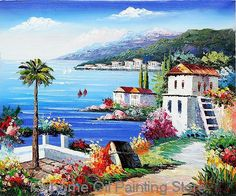 086795814 A Palm Tree Grow Mediterranean Scenes by famous scenery artist reproductions,Decorative  handmade museum Landscape oil painting-in Painting &.