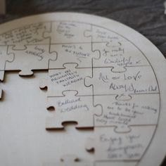 For an alternative to a traditional wedding guest book we love this jigsaw puzzle. The jigsaw puzzle wedding guest book is heart shaped and made from wood. Guests can write their kind words on a puzzle piece and then place the pieces of the puzzle together. The puzzle comes with a card explaining to guests what to do. It reads; Dear family and friends, please help keep this memory by signing a puzzle piece and adding it to the heart. Thank you so much for sharing part of this special day.…