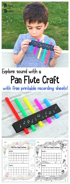 STEM / STEAM for Kids: Homemade Musical Instruments- a straw pan flute (or panpipes). Explore the science of sound and even create your own songs with this DIY pan pipe made of straws! Kids can even write down their own songs on the free printable recording sheet! ~ BuggyandBuddy.com via @https://www.pinterest.com/cmarashian/boards/