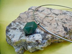Bass Guitar String Necklace: UNISEX Recycled Flat-Wound Bass Strings with Super Cool Green Stone Pendant - pinned by pin4etsy.com