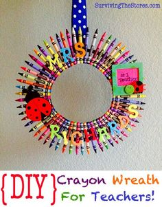 Teacher Appreciation Freebies and Discounts!  Free Printable List and lots of great frugal Teacher Gift Ideas including the Crayon Wreath!!