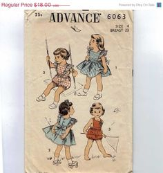 1950s Girls Sewing Pattern Advance 6063 Toddler Girls Apron Dress Playsuit Party Dress Size 4 Breast 23 1970 70s. $16.20, via Etsy.  I love ruffles, well-placed.
