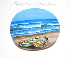 Boats on the beach - Painting on Stone by Lefteris Kanetis.