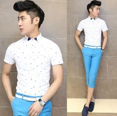 2014 Newest Men Clothing Short Sleeve Cool Summer Shirt Slim Young Mens Fancy Preppy Stylish Shirt $24.58