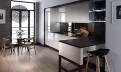 The Remo gloss kitchen finished in cashmere - Second Nature