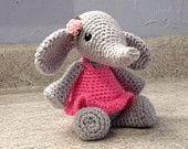 Crocheted Elephant Stuffed Animal -  Amigurumi