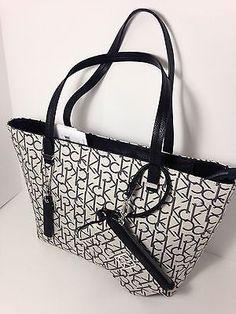 b51f36b514 Calvin Klein haley lurex city shopper tote bag handbag with Wristlet