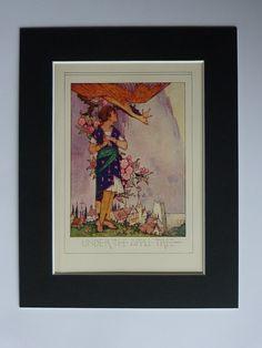 1920s Antique Fantasy Print - Apple Tree Decor - Available Framed - Fairy Tale Art Print - Apple Blossom Picture - Violet Brunton Artwork