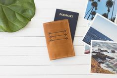 Personalized Arrow Burned Design Leather Passport Wallet, Passport Case, Travel Wallet, Leather Travel Accessory, Personal | The Armstrong