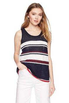 b23fb8a673 Cable Stitch Women's Pointelle Stripe Tank Top Spring Outfits Women Casual,  Spring Fashion Outfits,