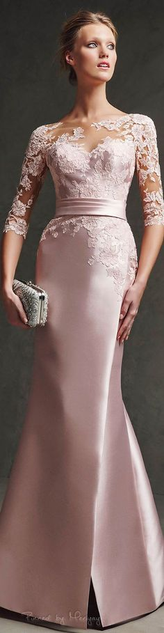 #motherofthebride - Lovely rose colored mother of the bride dress with sheer lace sleeves. The haute couture 3/4 sleeve evening gown can be made to order by our US dress design firm at an affordable cost. We specialize in replicas and inexpensive custom formal gowns. Contact us for pricing of custom mother-of-the-bride evening dresses. https://www.dariuscordell.com/featured/custom-made-mother-of-the-bride-evening-dresses/