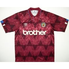 4a0e3465c 1990-92 Maroon Umbro Brother MCFC away shirt Vintage Football Shirts