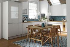 patterned cement tile floor white kitchen