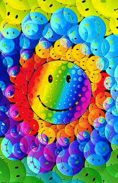 Colorful smiley happy faces