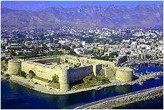 Kyrenia Castle in Northern Cyprus, stands on a site that was in use during the Hellenistic and Roman periods of 111-11 B.C, dominates the entrance to the harbor of Kyrenia village.