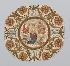 Medallion, silk and metal thread, Italian, 16th c.