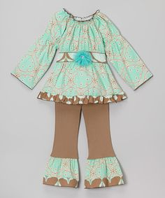 Loving this Blue & Brown Geometric Ruffle Tunic Set - Infant, Toddler & Girls on #zulily! #zulilyfinds