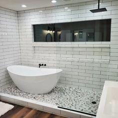 Master Bath Remodel, Diy Bathroom Remodel, Bathroom Renovations, Bathroom Layout, Bathroom Interior Design, New Bathroom Designs, Bathroom Trends, Bath Tub, Bathtub In Shower