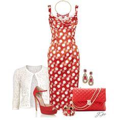 """L'Wren Scott Red and White Polka Dot Satin Dress"" by jgee67 on Polyvore"