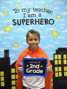 I used this first and last day of school superhero photo booth and signs to make…