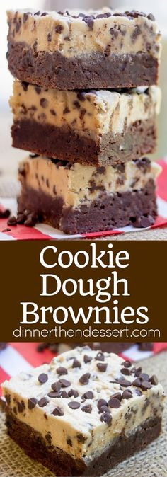 Cookie Dough Brownies made with a rich dark chocolate brownie base and an eggles. Cookie Dough Brownies made with a rich dark chocolate brownie base and an eggless cookie dough layer. The best part No Bake Desserts, Easy Desserts, Delicious Desserts, Baking Desserts, Healthy Desserts, Healthy Food, Healthy Recipes, Cookie Dough Brownies, Chocolate Chip Cookie Dough