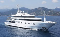 This is Moonlight II a 116 million dollar yacht. She is equipped with decks of splendor and room for smaller boats to be boarded.
